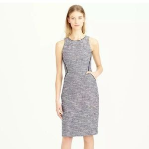 J CREW TIPPED TWEED SLEEVELESS SHEATH DRESS -Sz: 8